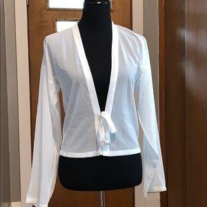 Ivory sheer tie-front kimono, size medium